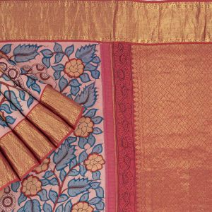 Kancheepuram Silk Kalamkari Printed Onion Pink Saree