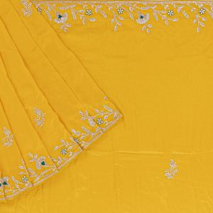 Fancy Crepe Embroidery Yellow Saree