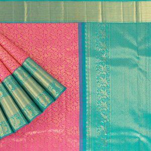 Kancheepuram Silk Jaal Baby Pink Saree