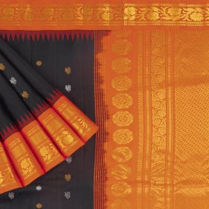 Gadwal Silk Buttis Black Saree