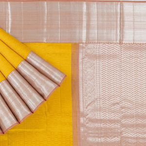Kancheepuram Silk Abstract Pattern Yellow Saree