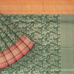 Banarasi Silk Jaal Green Saree